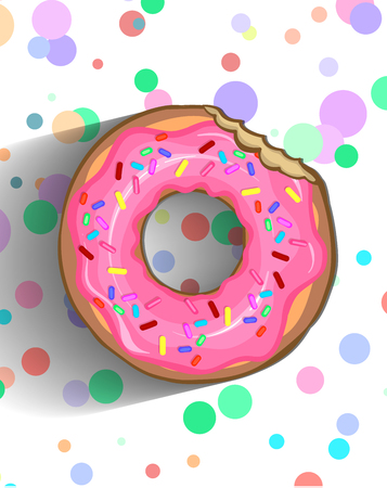 A delicious donut in a pink frosting with sprinkle and chipped chocolate.