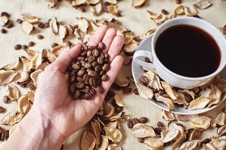 A handful of brown coffee beans in the palm of your hand next to an espresso Cup