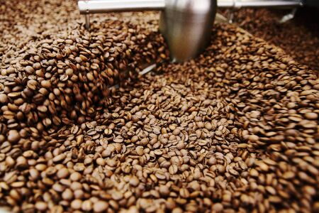 Coffee brown roasted beans. The roasting process in the roaster Stock Photo