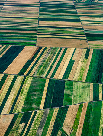 bird's eye view: Birds Eye View of the Agricultural Fields and Parcel. Stock Photo