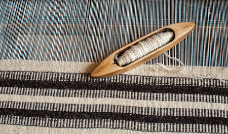 handloom: Traditional hand-loom weaving carpets for in Transylvania.