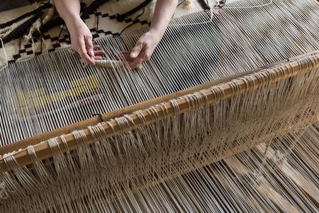 homespun: Webster homespun weaving. Stock Photo