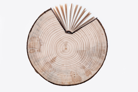 Cross section of tree trunk and book on white background.