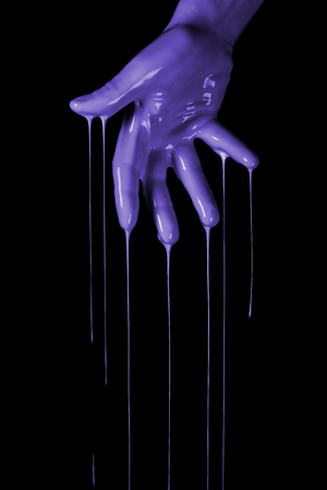 Human hands Dipped in paint color, creative concept. Painted hand.