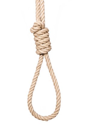 exhaustive: Hangmans noose isolated on a white background, a symbol of death.