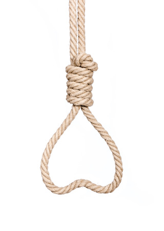 exhaustive: Hangmans Noose in heart shape isolated on a white background, a symbol of death or love. Stock Photo
