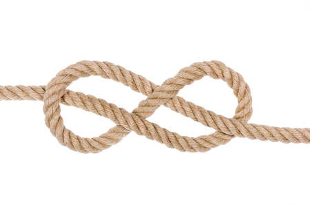 overhand: Nautical rope knot. Figure eight knot isolated on white background.