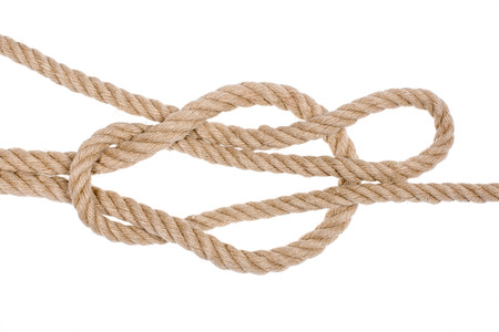 overhand: Reef knot isolated on white background.