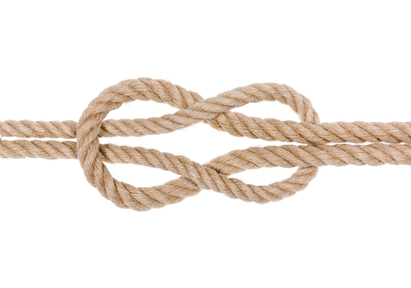 overhand: Square knot isolated on white background.