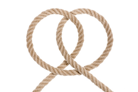 overhand: Nautical rope knot. Clove hitch isolated on white background.