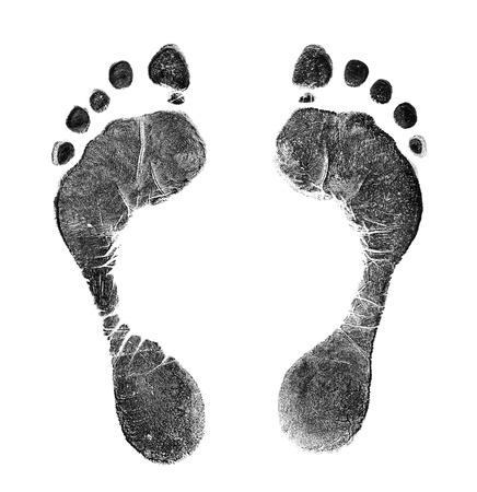 fingermark: Black prints of feet on transparent paper. Black footprint. Isolated on white.