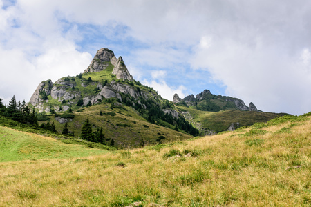 Mountain Landscape. Picturesque rocky peaks in Ciucas Mountain Range, Romania.