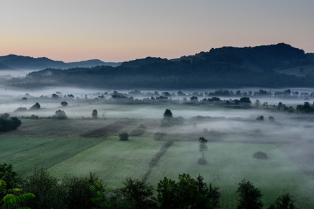 Foggy morning over rural countryside landsacpe. Agricultural field.