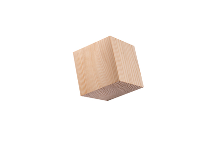 Wooden cube isolated on white background.
