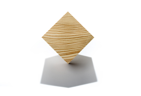 Abstract geometric real wooden cube isolated on white background with real shadow and it's not 3D render. Stock fotó - 117960550
