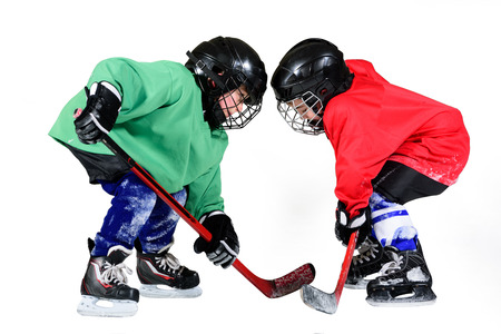 Two ice hockey players in uniform facing off. Ice hockey. Stock fotó - 117960553