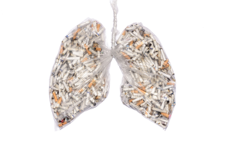 . Cigarette butts in pulmonary contour in transparent nylon pouch. Conceptual image advertising, for cigarettes box. Stock fotó
