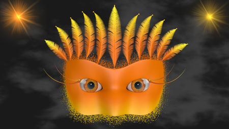 weighs: The orange Venetian mask with feathers on the head weighs in clouds. Stock Photo