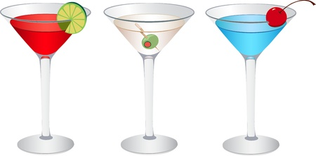 daiquiri: Short drinks in martini glass Illustration