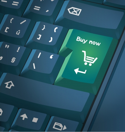 sell online: Computer keyboard with shopping key. Illustration. Image contains transparencies and round gradients.