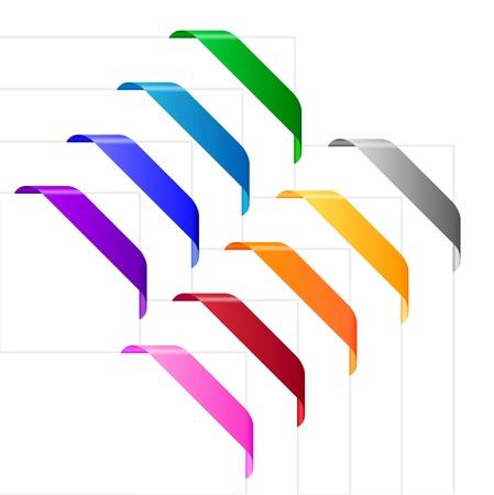 様々 な色で角のリボン。空のカラフルなリボンに適したウェブサイト、チラシ、ポスター、その他の目的のコーナーに使用します。