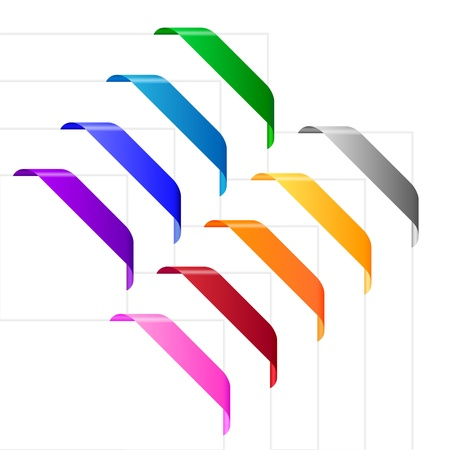 Corner ribbons in various colors. Empty colorful ribbons appropriate for use on corners of websites, leaflets, posters and other purposes. Vector