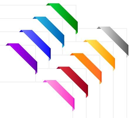 Corner ribbons in various colors Stock Vector - 16440452