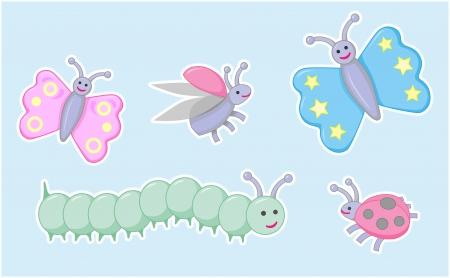 caterpillar cartoon: Happy little beetles, butterflies and caterpillar