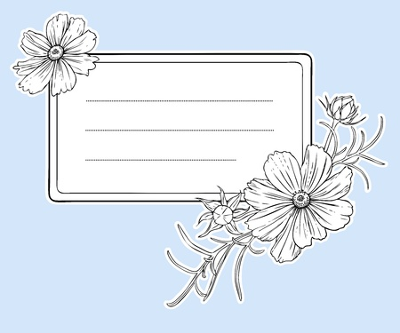 Vintage flower frame  Beautiful frame with cosmos flowers  Vector