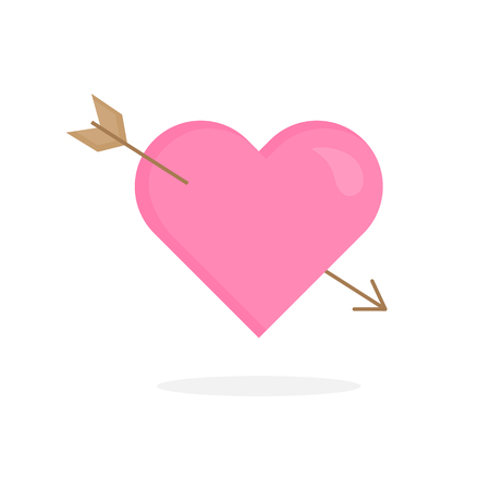 Simple Valentine's Day cupid heart vector icon. Pink heart with wood arrow. In love amor heart graphic illustration with shadow, isolated.