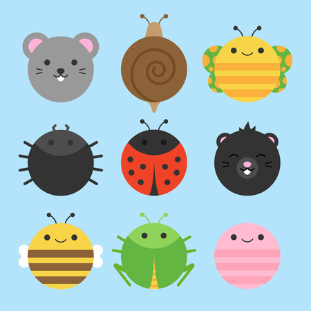 Cute vector icon set of garden animals. Round animal illustrations; mouse, snail, butterfly, spider, ladybug, mole, bee, grasshopper and earthworm. Isolated on baby blue background. Banque d'images - 121669047