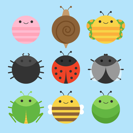 Cute vector icon set of insect, meadow animals. Round animals illustrations; earthworm, snail, butterfly, spider, ladybird, fly, grasshopper, bee and caterpillar. Isolated on baby blue background.  イラスト・ベクター素材