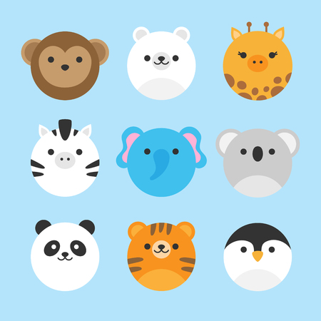 Schattig vector icon set van dierentuindieren. Ronde dierenillustraties; aap, ijsbeer, giraf, zebra, olifant, koalabeer, pandabeer, tijger en pinguïn. Geïsoleerd op baby blauwe achtergrond.