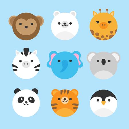 Simpatico set di icone vettoriali di animali dello zoo. Illustrazioni di animali rotondi; scimmia, orso polare, giraffa, zebra, elefante, koala, panda, tigre e pinguino. Isolato su sfondo blu bambino.