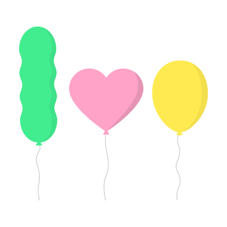 Transparent colorful air balloons with string. Heart, ellipse and worm shaped balloons, vector illustration.
