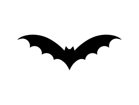 Bat vector illustration. Halloween scary bat in black color. Graphic icon or print, isolated on white background. | Standard-Bild - 121528199
