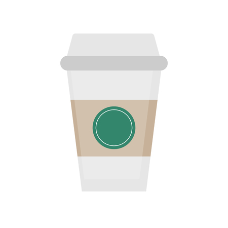 Coffee takeaway cup, vector illustration drawing. Coffee cup to go, isolated graphic icon or print.
