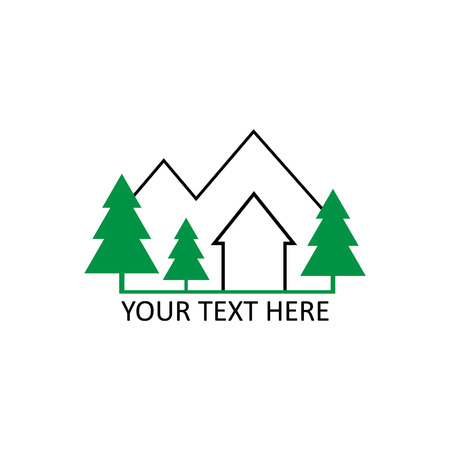 Cottage in mountains and forest logo with writing. Black and green outline cottage graphic vector logo, isolated on white background. Иллюстрация