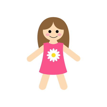 Cute Baby Rag Doll Vector Illustration Graphic. Girls toy, doll in pink dress with daisy.