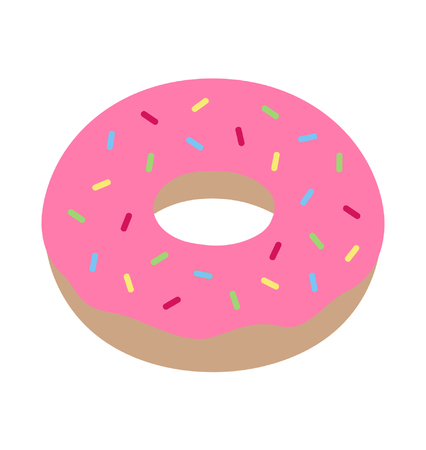 Cute and sweet pink donut, vector illustration doodle hand drawing. Sweet icon of donut with pink icing and colorful sprinkles.