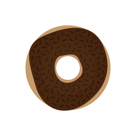 Sweet chocolate donut, vector illustration drawing. Donut with chocolate icing and chocolate sprinkles. Graphic icon or print isolated on white background. 向量圖像