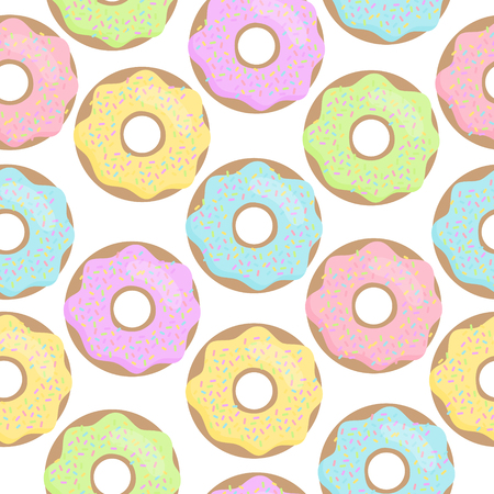 Cute colorful donut vector seamless pattern. Pastel sugar iced donuts with rainbow sprinkles.