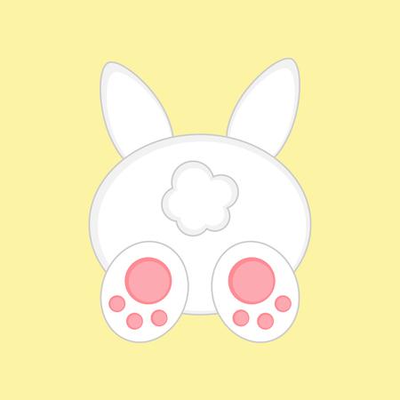 Lapin de Pâques mignon de vue arrière, isolé sur fond jaune. Illustration graphique de vecteur de lapin de Pâques blanc.