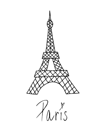 Eiffel Tower in Paris, France. Vector Illustration Keywords: Isolated on white background with hand writing Paris.