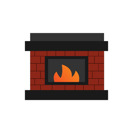Vector Illustration Keywords: Red brick fireplace with flame inside.