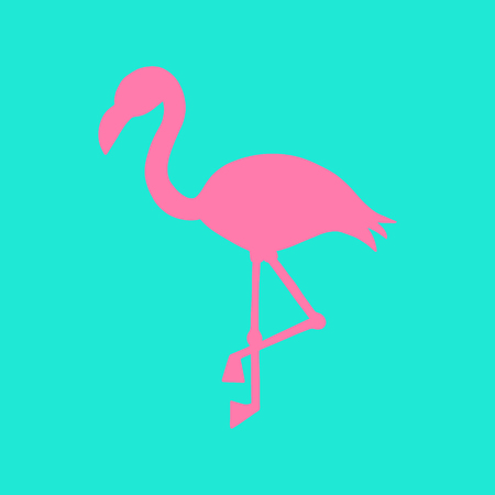 Mint background with pink flamingo silhouette, vector illustration.
