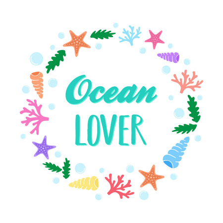 Ocean lover, vector illustration doodle drawing. Ocean greeting card isolated on white background.