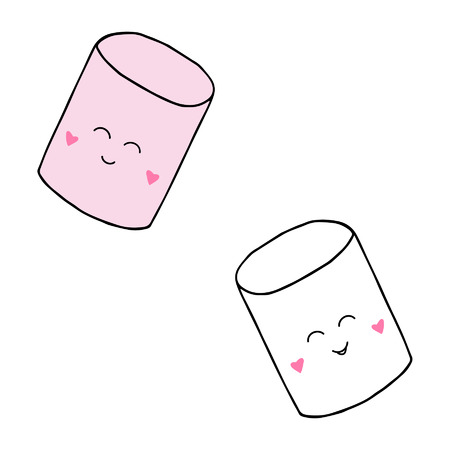 Cute two marshmallows with sweet puffy candy in pink and white. Vector Illustration Keywords: Isolated with transparent background. Ilustração