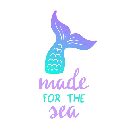 Mermaid tail vector graphic illustration. Hand drawn teal, turquoise, blue and purple, violet mermaid, fish tail with hand writing. Ilustração