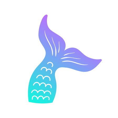 Mermaid Tail Vector Graphic Illustration. Hand drawn teal, turquoise, blue and purple, violet mermaid, fish tail.